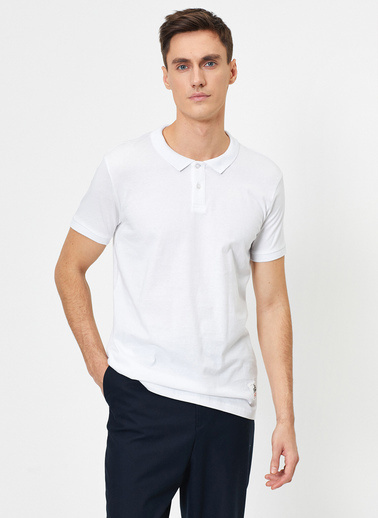 Koton Süs Etiket Detaylı Slim Fit Polo Yaka T-Shirt Beyaz